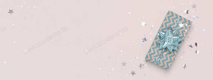 Christmas Gift Box on Beige Background, Web Banner, Copy Space