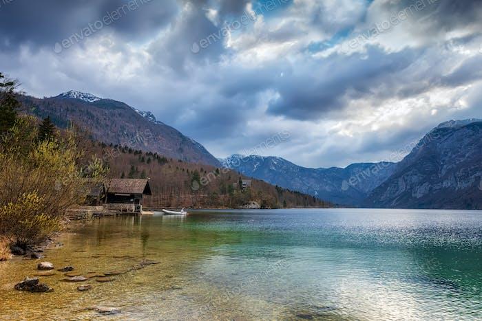 Panorama of Bohinj lake, Slovenia