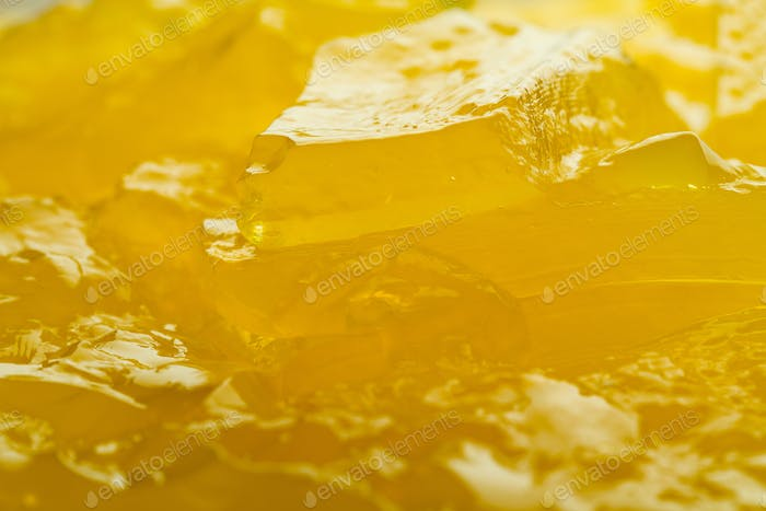 Macro horizontal of yellow jelly texture