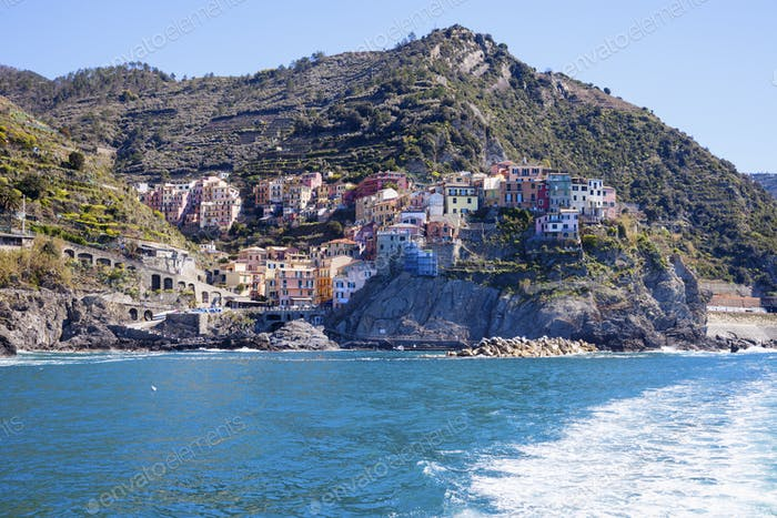 Manarola architecture from the sea