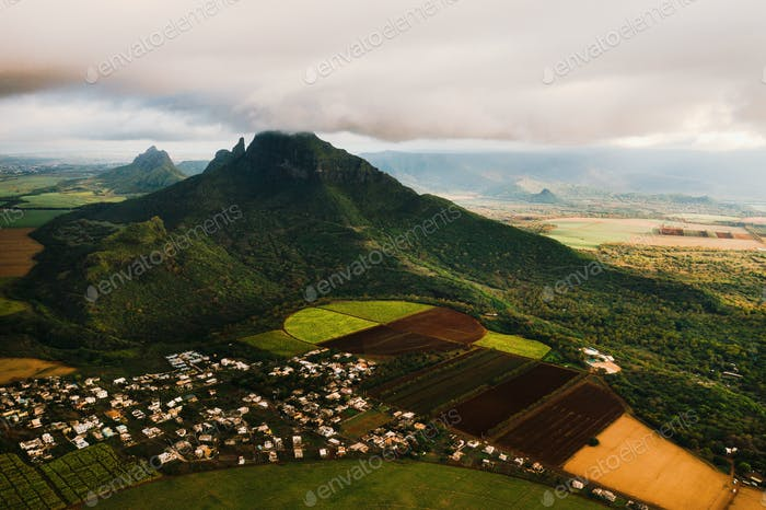 Bird's eye view of beautiful fields Islands of Mauritius and mountains
