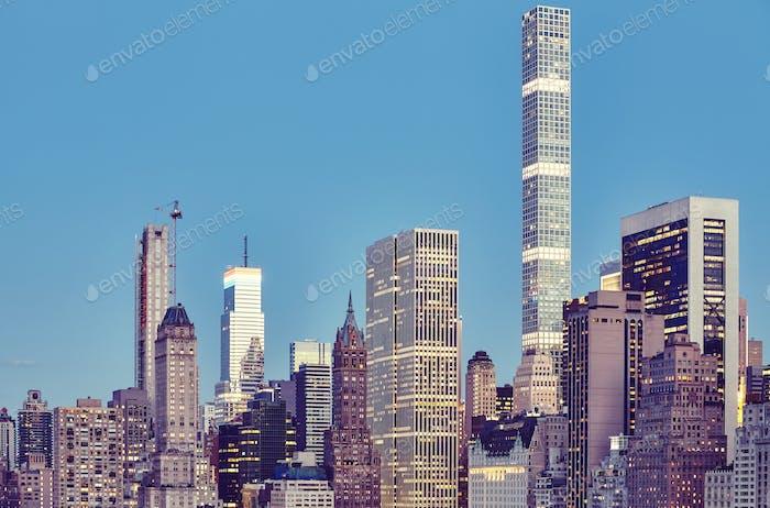New York City skyline at dusk, USA.