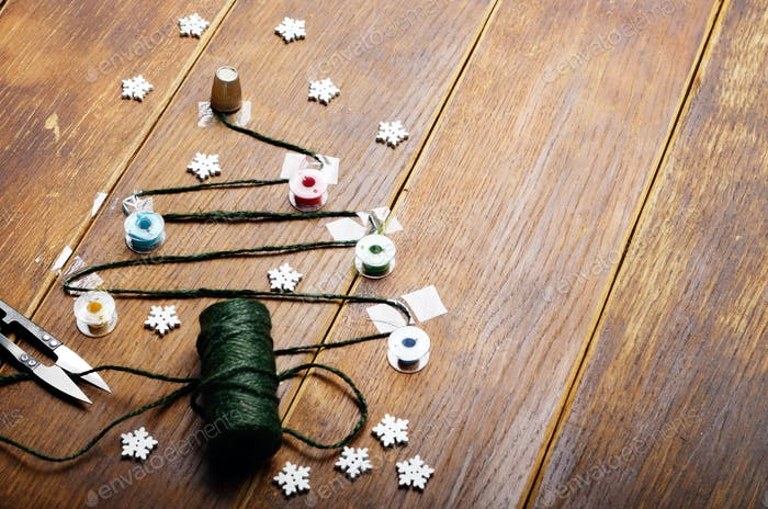 Sewing items Christmas backround