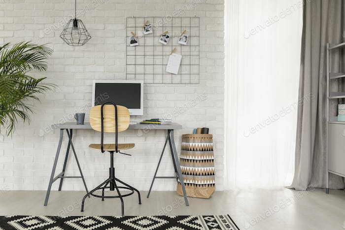 Study room with industrial details