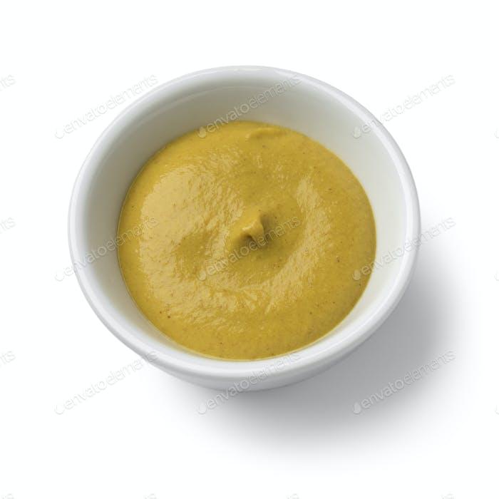 Weiße Schüssel mit Dijon Senf