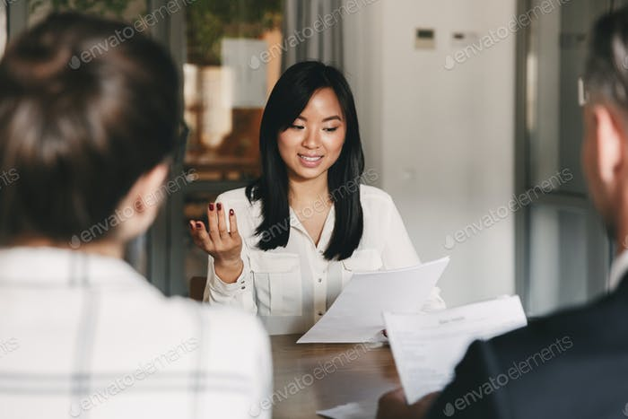 Business, career and placement concept - businesslike asian woma