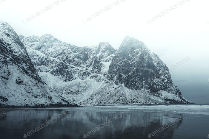 Misty Skagsanden black beach, Norway