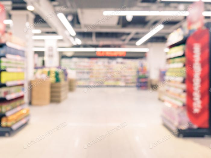 pasillo de supermercado borroso