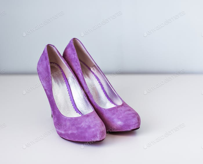 New purple velvet high heel shoes