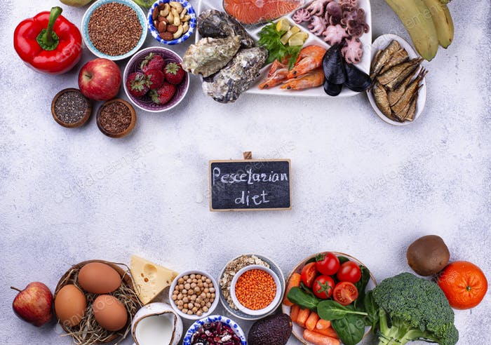Pescetarian diet with seafood, fruit and vegetables