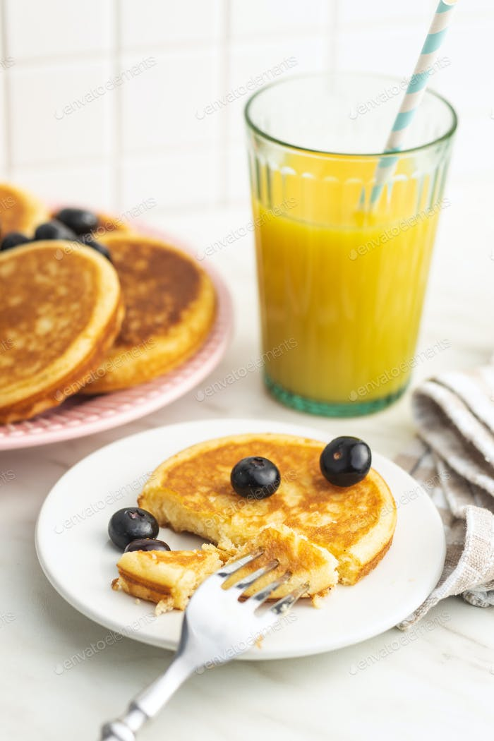 Sweet homemade pancakes with blueberries
