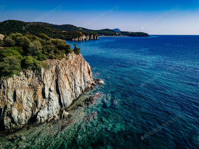 Aerial view of a rocky coastline Mediterranean Sea. Greece