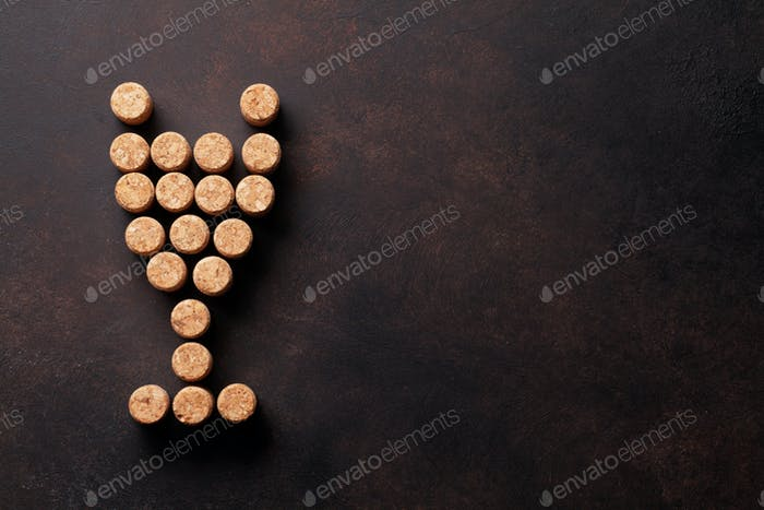 Wine glass of corks