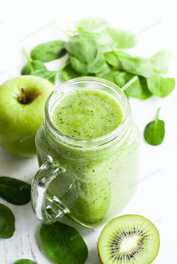 Healthy green smoothie in jar