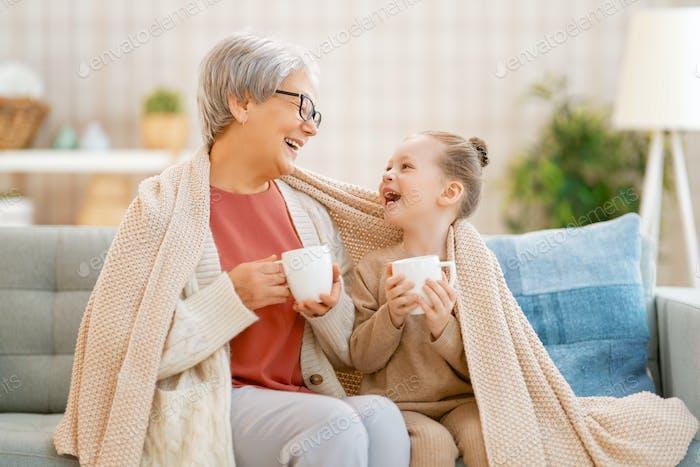 nice girl and her grandmother