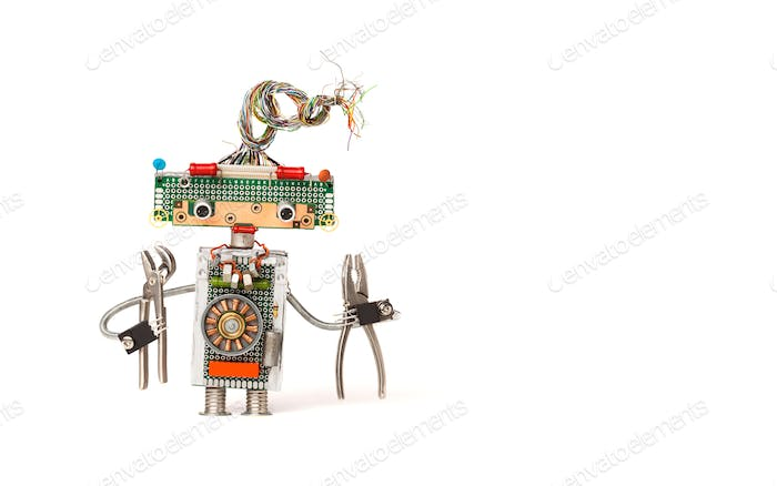 Funny robot electrician with pliers.