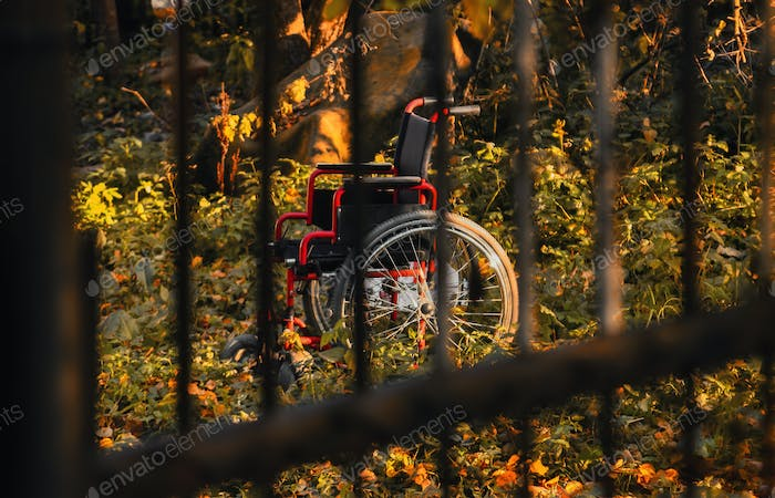 Empty wheelchair in untidy garden at sunset