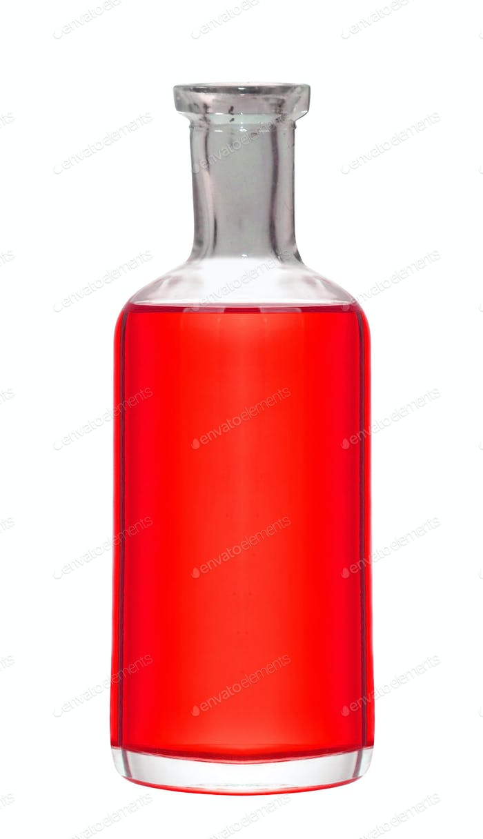 Glass bottle of juice isolated on white