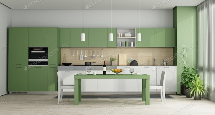 Green and white modern kitchen - 3d rendering