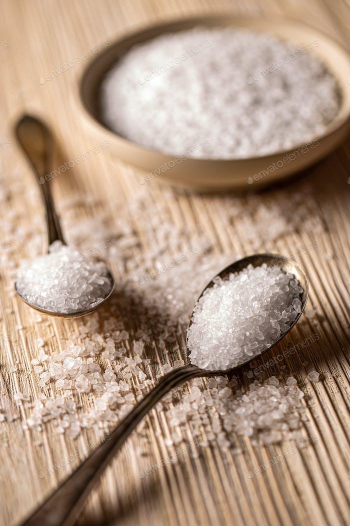 Sea salt in vintage spoons