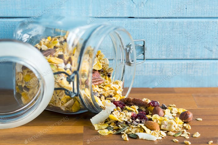 Tasty homemade muesli with nuts.