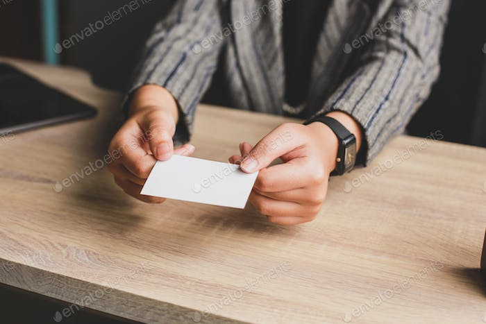 Business Woman Giving Name Card