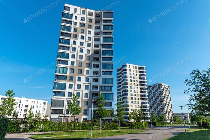 Modern high-rise residential buildings