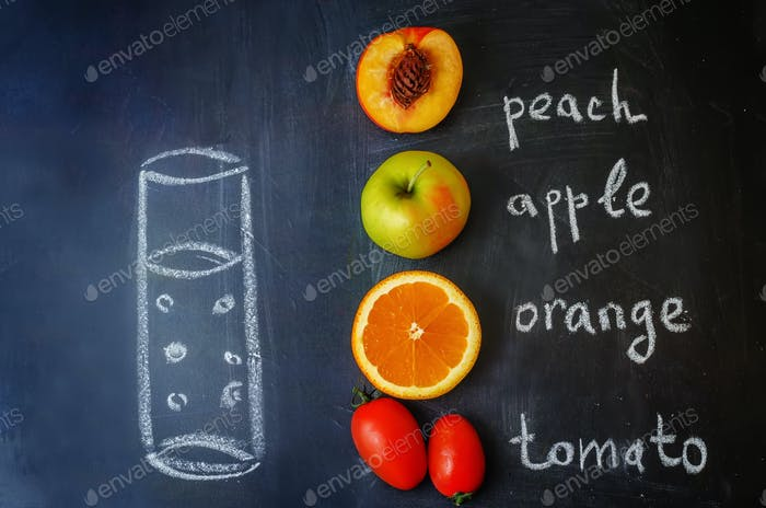 Peach, orange, tomato; Apple fruits with words is written with c