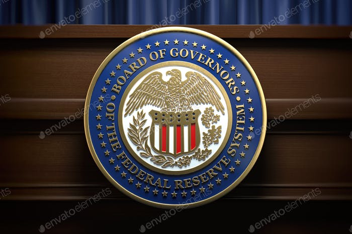 Cartel y símbolo de la Reserva Federal de la Reserva Federal en la tribuna en la sala de conferencias de prensa.