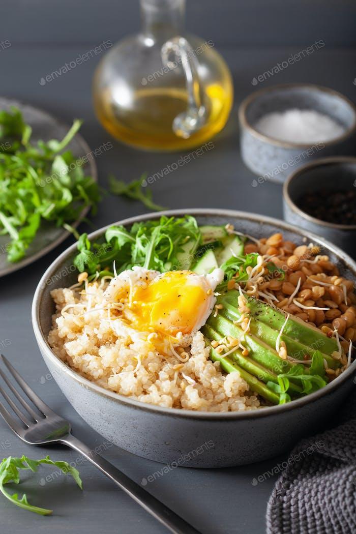quinoa bowl with egg, avocado, cucumber, lentil. Healthy vegetar