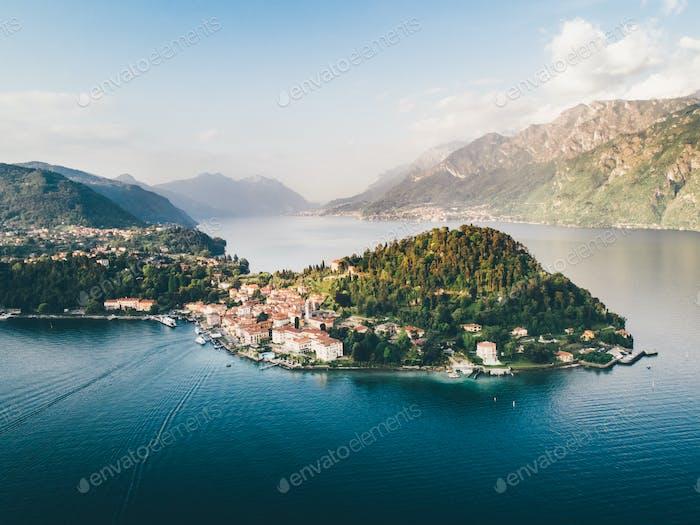 Aerial view on Como lake. Varenna, Italy