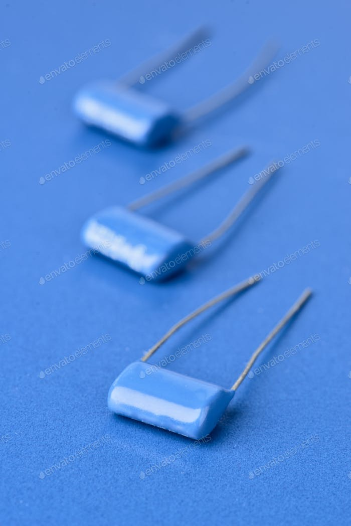 electronic components on blue background