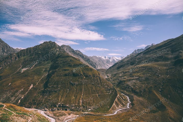 beautiful scenic mountains and footpath in Indian Himalayas, Rohtang Pass