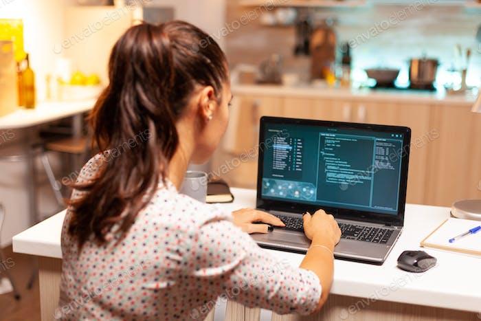 Woman hacker using dangerous virous