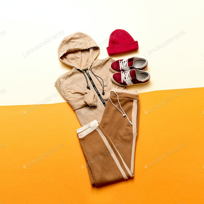Urban Style Clothing. Skateboard fashion outfit. beige color