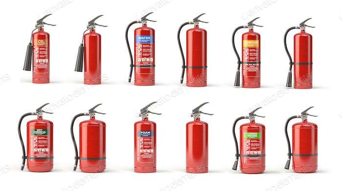 Fire extinguisher set  of different types isolated on white.