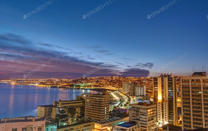 Valparaiso in Chile before sunrise