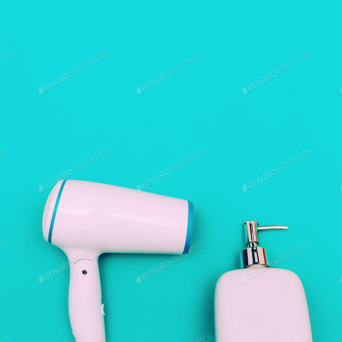Home accessories. Hairdryer and soap. Minimal art style