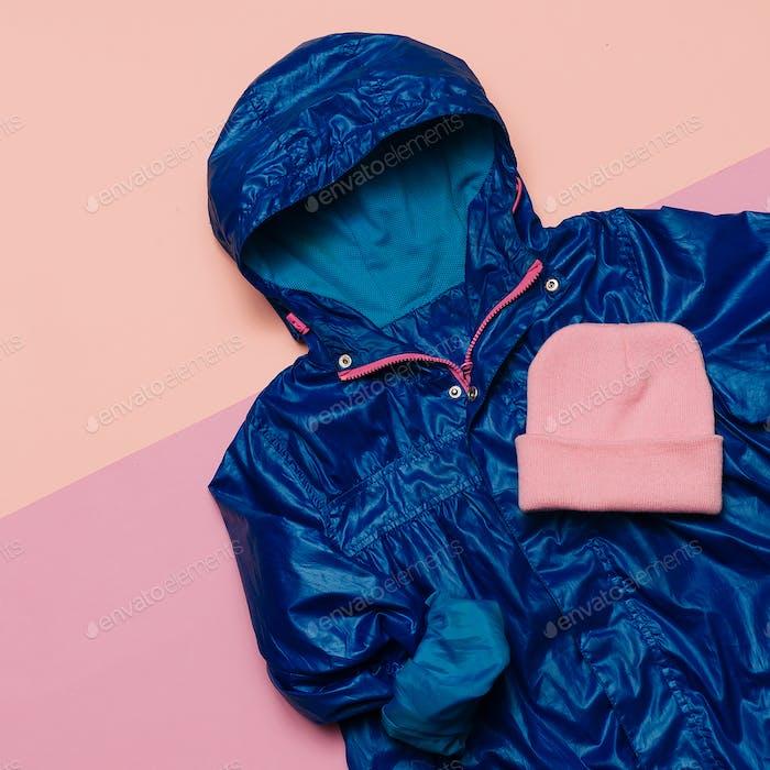 Hello Rains Season. Urban street fashion. Minimal design Blue ra