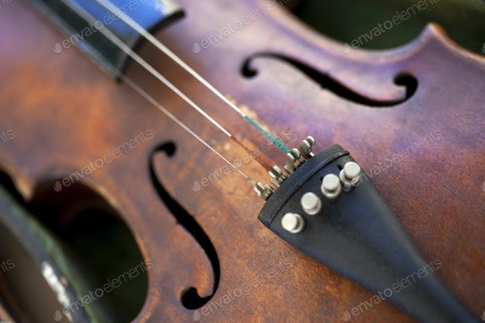 Details of an old violin