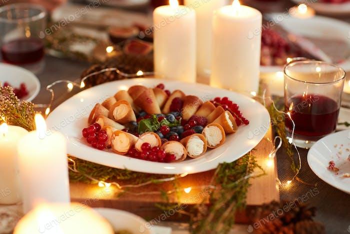 Dessert on holiday table