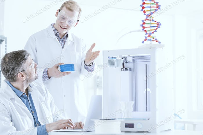 Team of scientists at laboratory