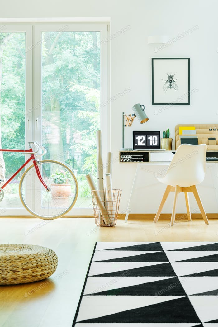 Work area with red bike