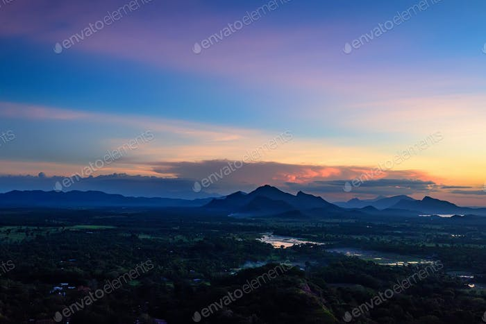 Amazing sunset viewed from rock fortress Sigiriya