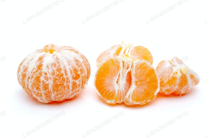 Peeled tangerine and some segments