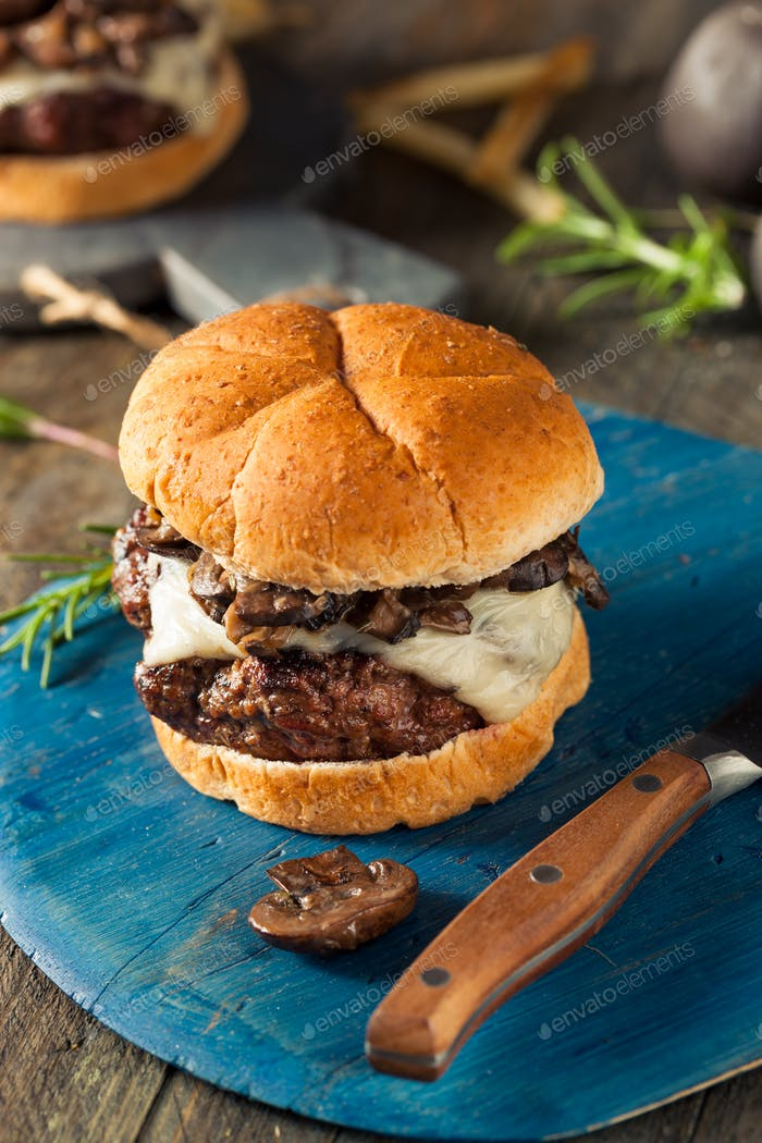 Homemade Grassfed Mushroom and Swiss Cheese Hamburger