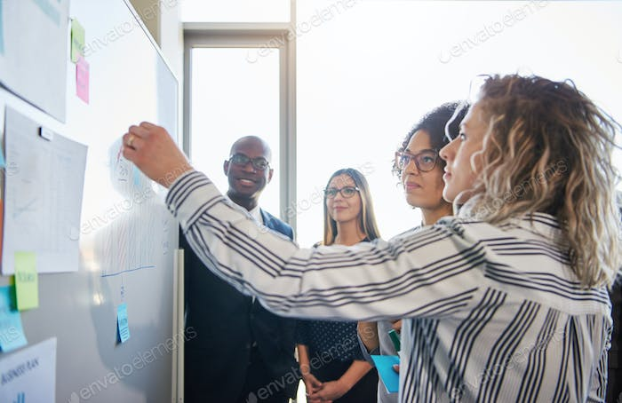 Coworkers strategizing together on a whiteboard in an office