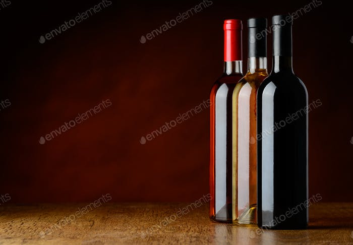 Row of Tree Wine Bottles