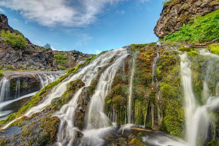 Small waterfall seen in Iceland