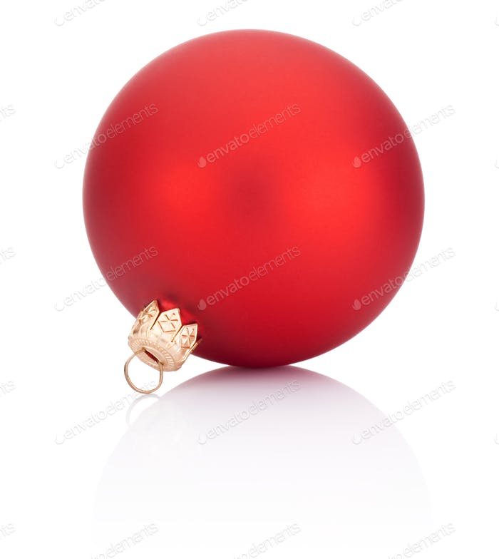 Christmas ball red decoration Isolated on white background